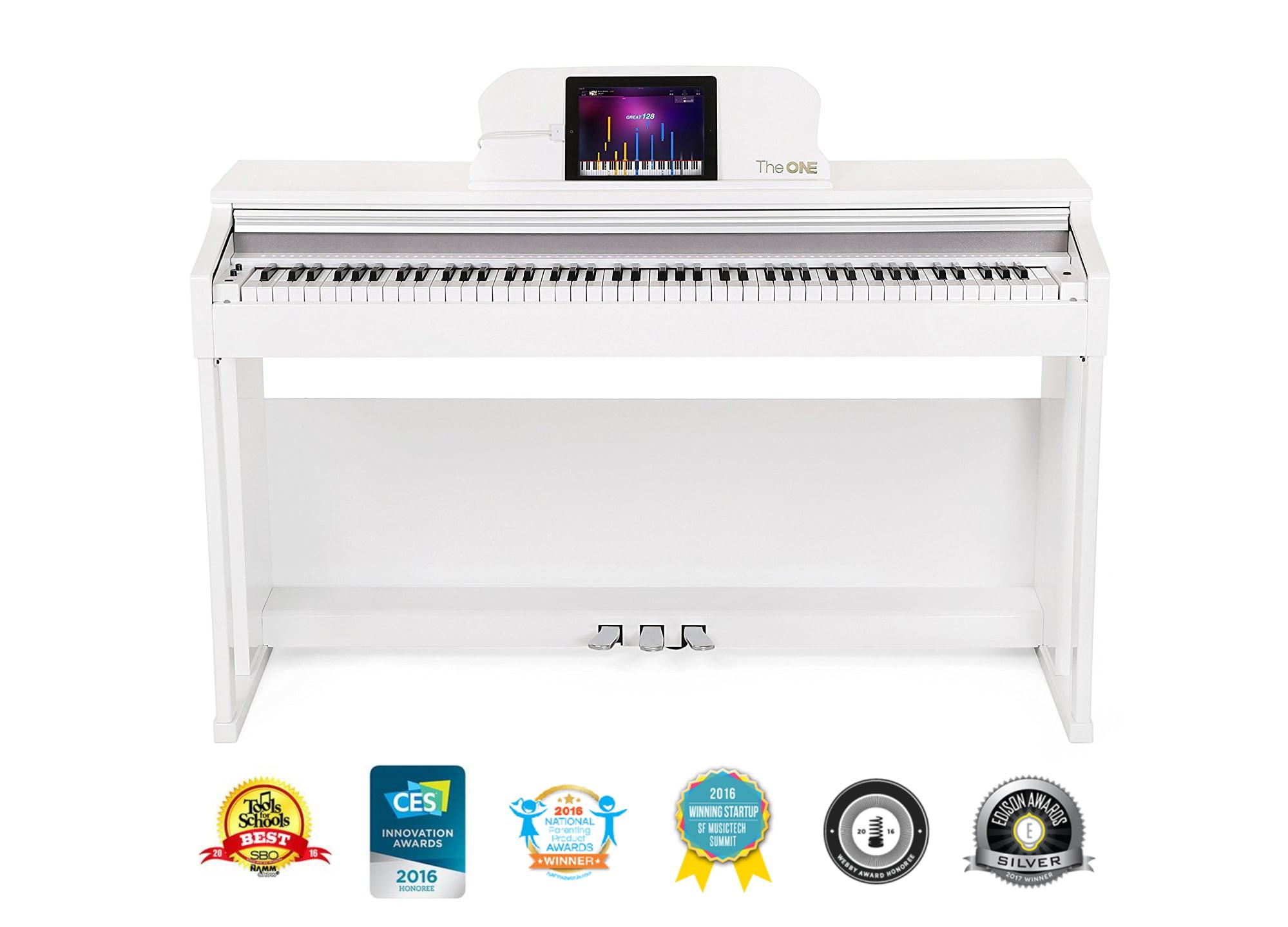The ONE Smart Piano 88-Key Upright Digital Piano, White by Wanaka Inc
