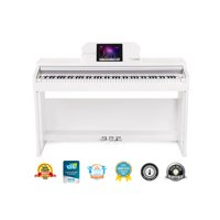 The ONE Smart Piano, Weighted 88-Key Digital Piano, Grand Graded Hammer-Action Keys Upright Piano - Classic White