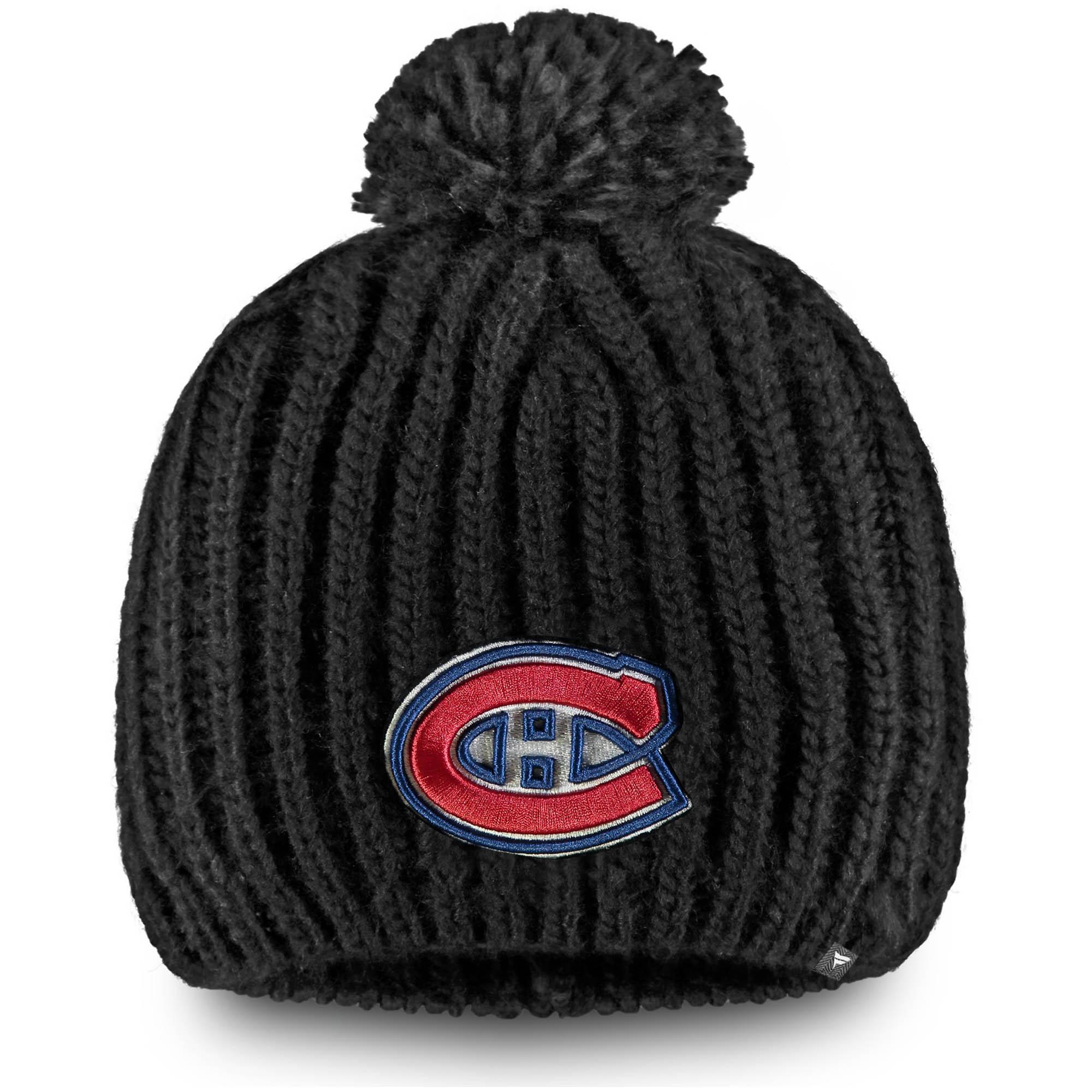 Montreal Canadiens Fanatics Branded Women's Iconic Knit Beanie with Pom - Black - OSFA