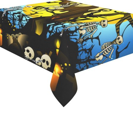 MYPOP Happy Halloween Night Tablecloth Sets 52x70 Inches - Skull Skeleton Wood Bat Sofa Table Cloth Cover for Dinner Party Decoration - Special Halloween Dinner