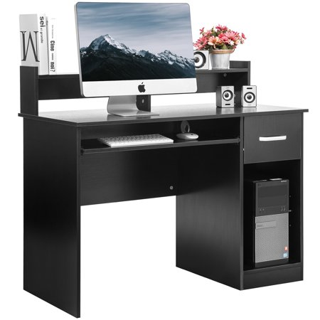 Modernluxe Computer Desk Office Home Furniture Writing With Hutch And Keyboard Tray Multiple Colors Com