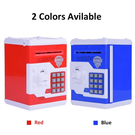 Yosoo Blue Mini Safe Money Box Coin Saving Electronic Bank Can For Children Kids Gift, Kid safe box, Mini coin (Safe Coin)
