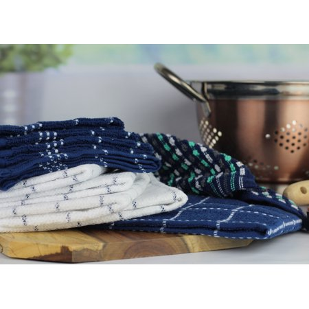Blue Dish Towel - Sous Chef 10 Pack Kitchen Towel Bundle Set - 2 Towels, 4 Dishcloths, 4 Scrubber Dishcloths, Navy