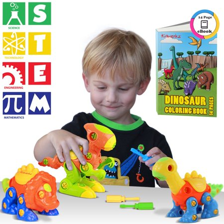 Kidtastic Dinosaur Toys, STEM Learning (106 pieces), Take Apart Fun (Pack of 3), Construction Engineering Building Play Set For Boys Girls Toddlers, Best Toy Gift Kids Ages 3yr - 6yr, 3 Years and