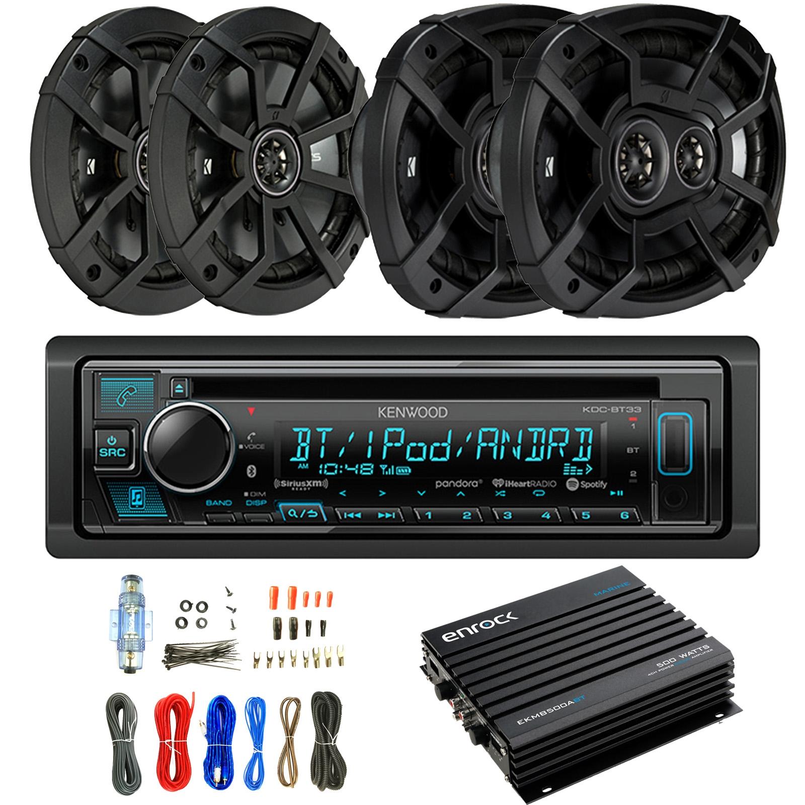 "Kenwood KDC-BT33 Single-DIN In-Dash CD/Bluetooth Receiver, 2 x Kicker 43CSC654 6.5"" 2-Way Car Speakers, 2 x Kicker 6x9"" 3-Way Audio Speakers, 4-Channel Amplifier, Amp Installation Kit"