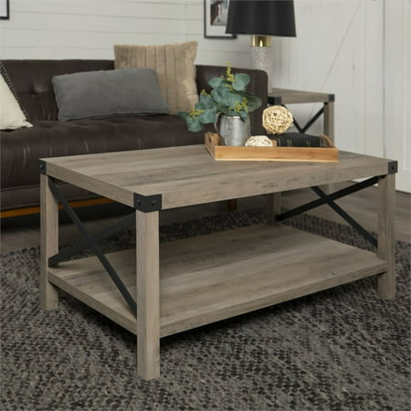 """40"""" Wood and Metal X Coffee Table in Grey Wash"""