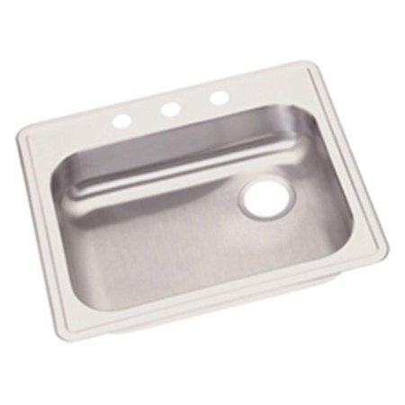 Elkay GE12521R3 Dayton Stainless Steel Single Bowl Top Mount Sink with 3 Faucet Holes, Satin
