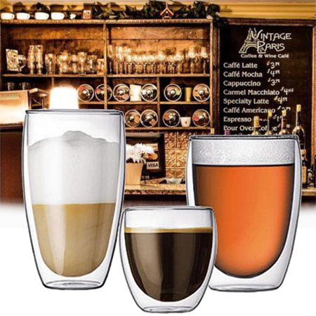 On Clearance Glass Coffee or Tea Mugs Drinking Glasses Double Wall Thermal Insulated Cups, Espresso Latte Cappuccino Stackable Glassware ()