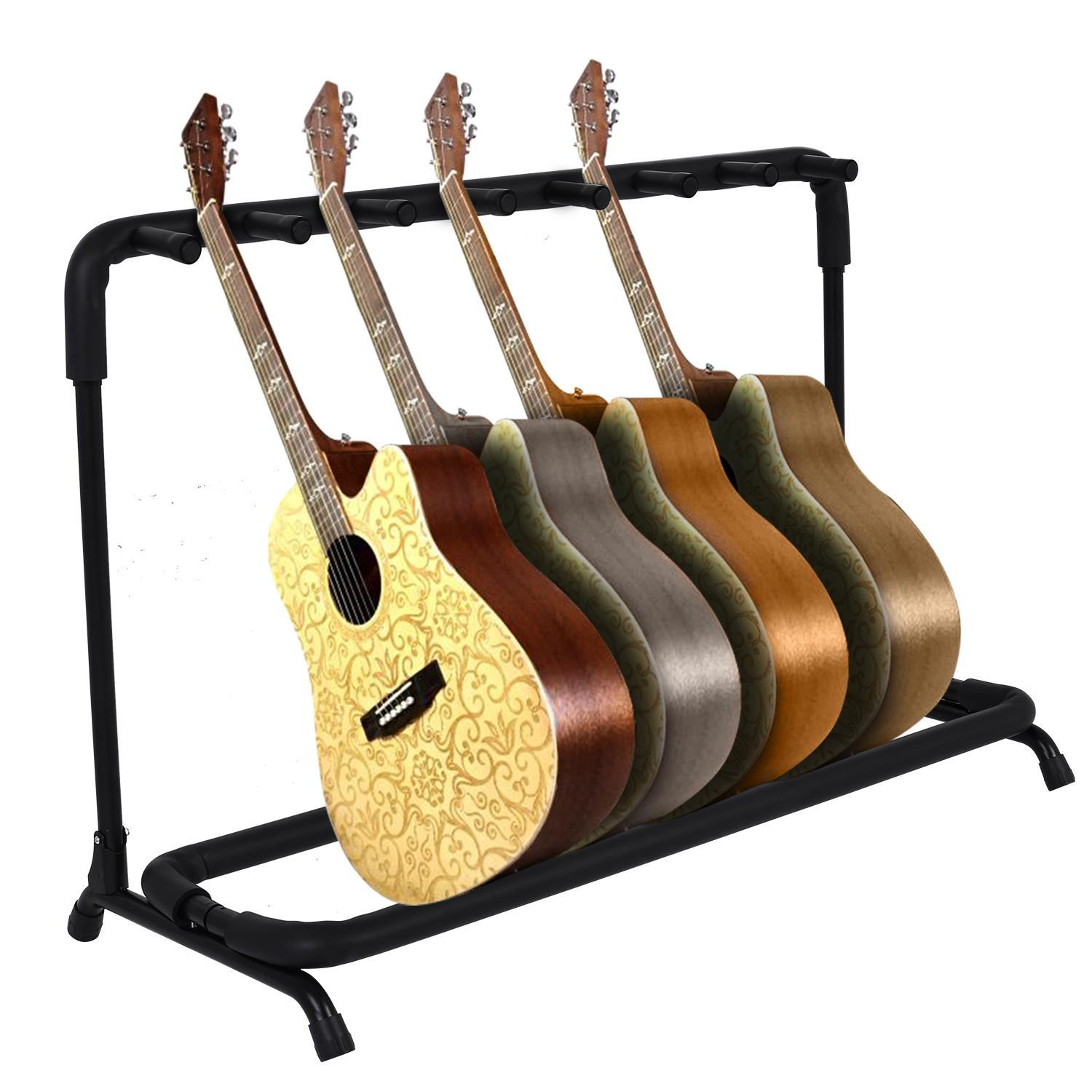Multi Guitar Stand 7 Holder Foldable  Display Rack - Portable Black Guitar Holder With No slip Rubber Padding for Classical Acoustic, Electric,  Guitar and Guitar Bag / Case