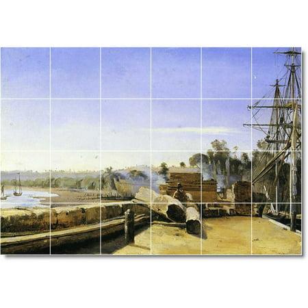 Ceramic Tile Mural Jean Corot Waterfront Painting 276 48 w x 32 h usi