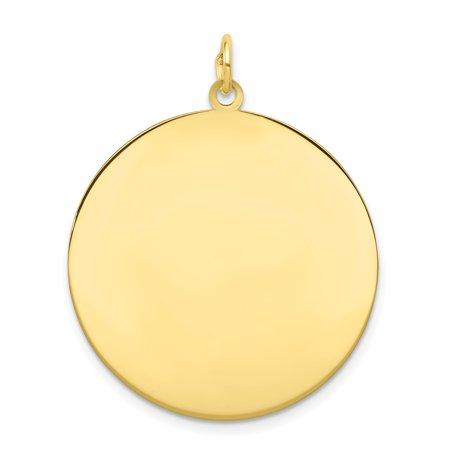 10K Yellow Gold Plain .013 Gauge Circular Engravable Disc Charm - image 2 de 2