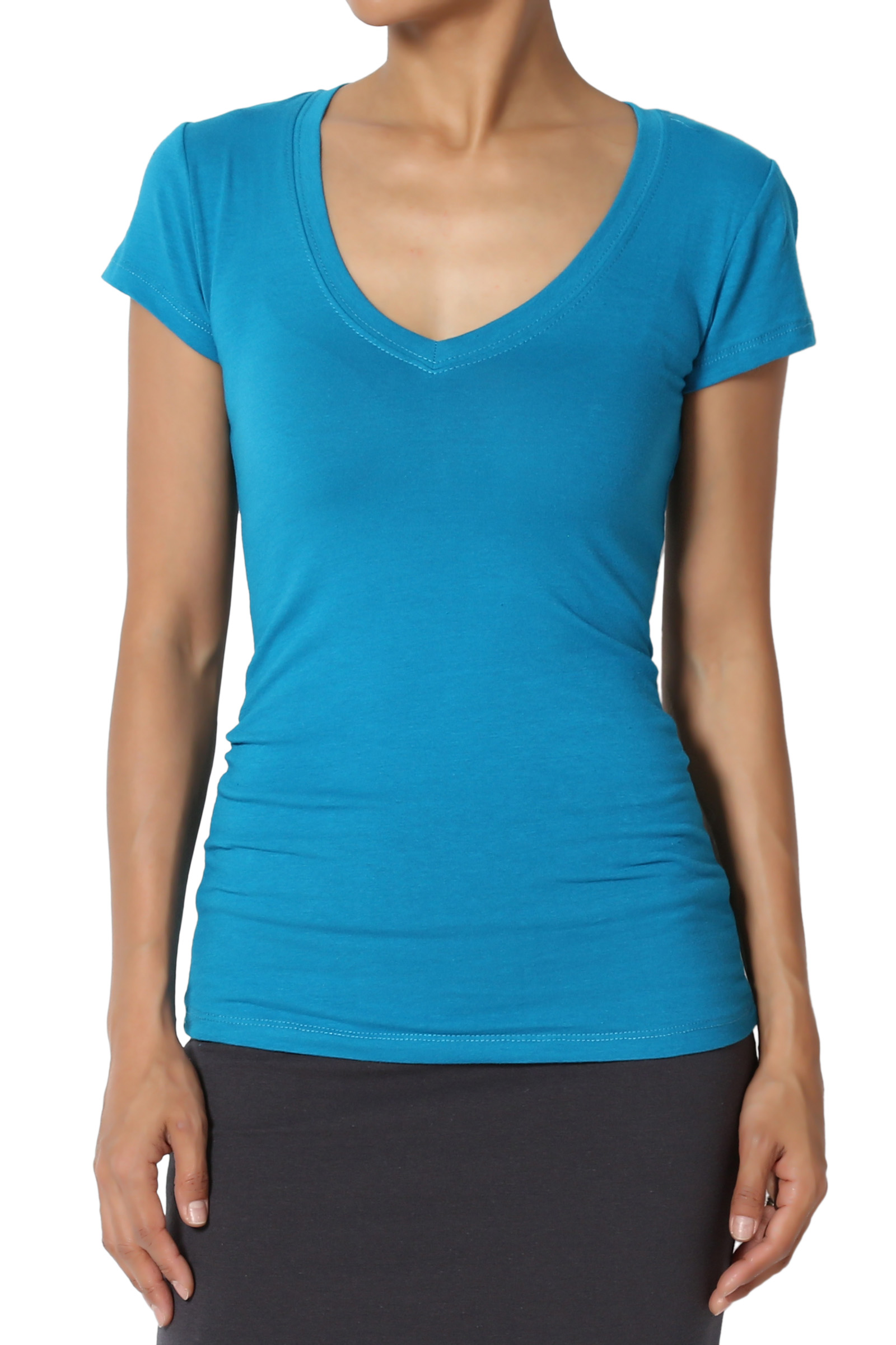 TheMogan Junior's Petite Basic Short Sleeve V-Neck T-Shirts Stretch Fitted Tee