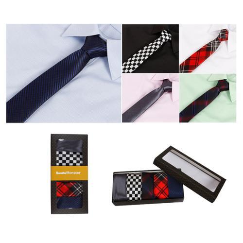 Bundle Monster Mens Fashion Business Solid Woven Stripe Necktie Tie - Set 5