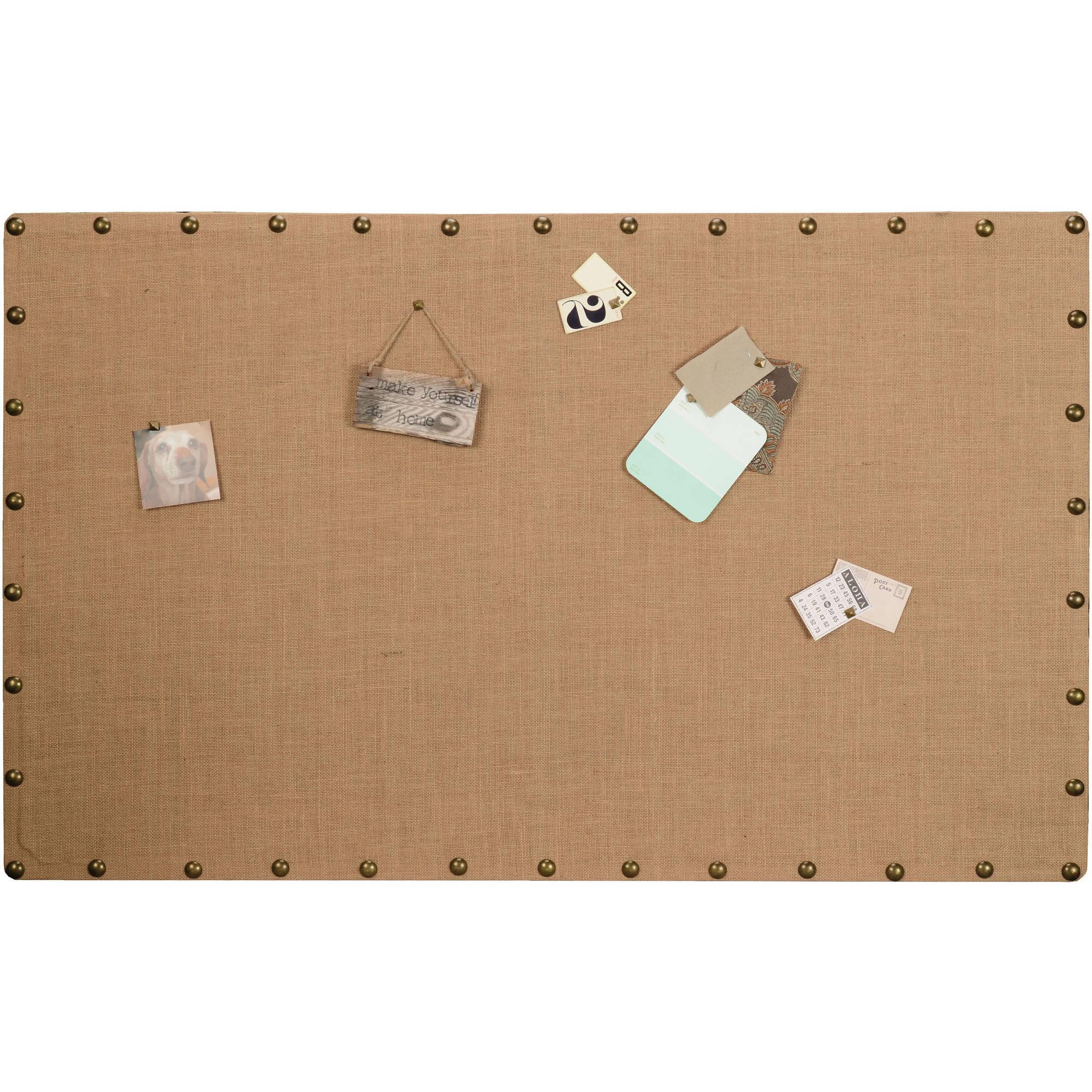 Linon Burlap Nailhead Corkboard, Large Size, Assembled