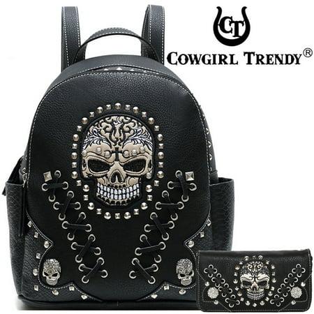 Western Style Sugar Skull Combo Backpack Wallet Black