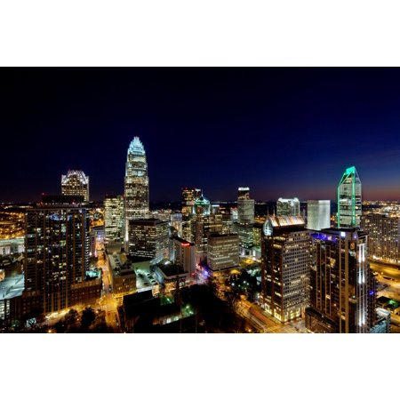 Charlotte Nc Halloween (Laminated Poster Charlotte Skyline At Night Glossy Poster North Carolina Nc Unc Poster Print 24 x)