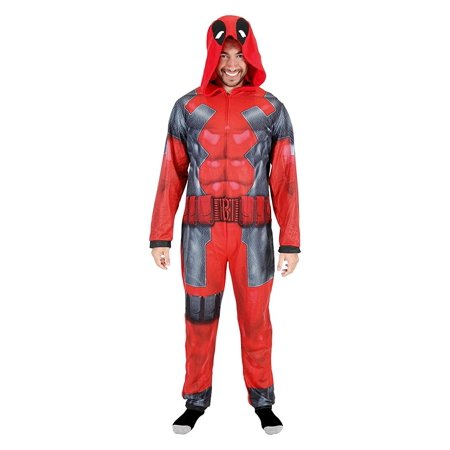Deadpool Adult Union Suit Costume Pajama Onesie with - Deadpool Movie Suit