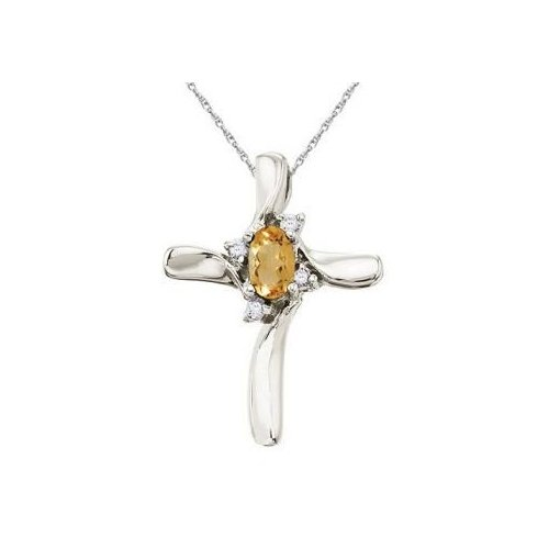 Seven Seas Jewelers 0.50 Carat Orange Citrine & Diamond Religious Cross Necklace Pendant in 14k White Gold by Brand New