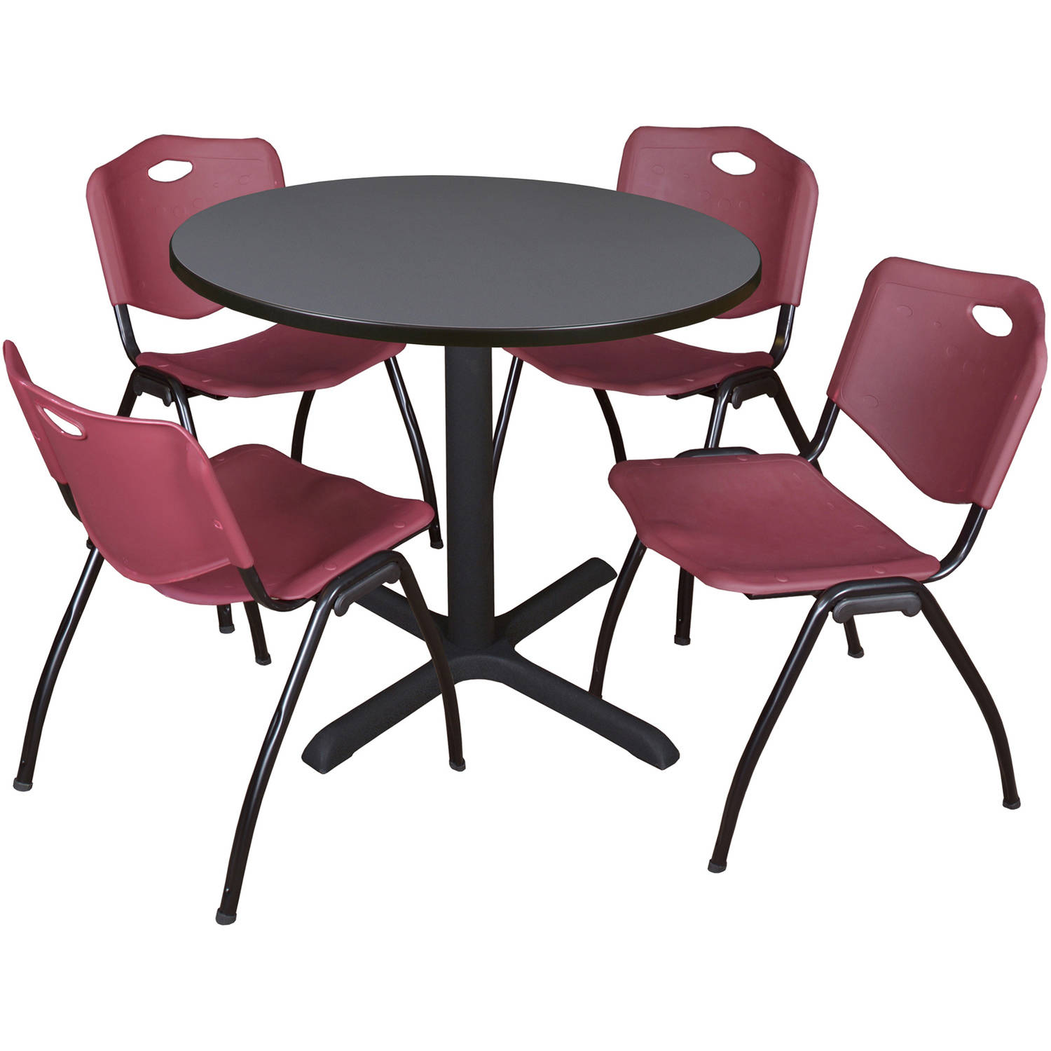 "Cain 36"" Grey Round Breakroom Table and 4 'M' Stack Chairs, Multiple Colors"