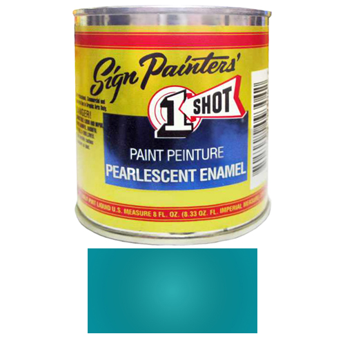 1/2 Pint 1 Shot PEARLESCENT BLUE GREEN Paint Lettering Enamel for Pinstriping