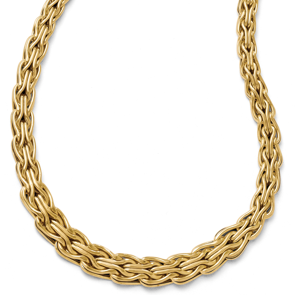 14k Yellow Gold 9mm Hollow Graduated Byzantine Necklace, 18 Inch by Black Bow Jewelry Company
