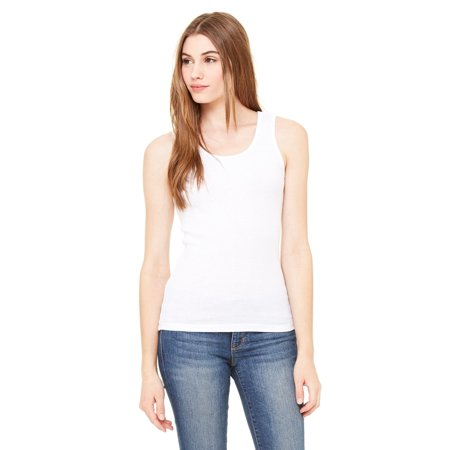 Classic Rib Tank (Branded Bella + Canvas Ladies 2x1 Rib Tank Top - WHITE - S (Instant Saving 5% & more) )