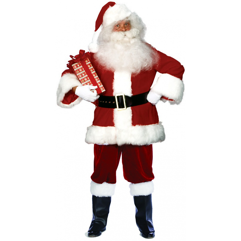 Rubie's Santa Claus Costume Deluxe Velvet Suit With Satin Lining Christmas Fancy Dress