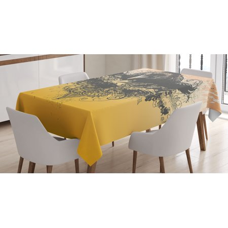 Black Decor Tablecloth, Halloween Theme Vector Illustration of a Wicked Crow and Flowers Print, Rectangular Table Cover for Dining Room Kitchen, 60 X 84 Inches, Black and Mustard, by Ambesonne
