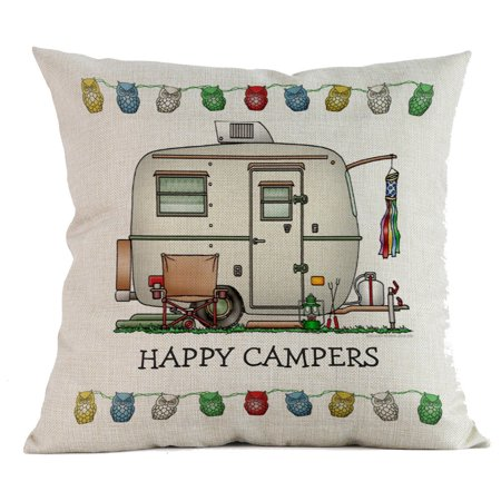 Happy Campers Cotton Linen Pillow Sofa Case Waist Throw Cushion Cover Home Decor](Hippy Home Decor)