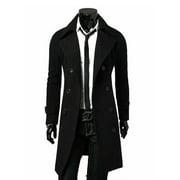 Fashion Mens Trench Coat Warm Thicken Jacket Woolen Peacoat Long Overcoat