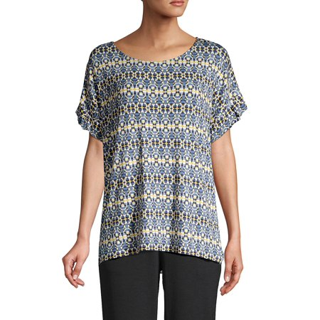 Printed Ruffled-Sleeve Top Ruffle Print Tee