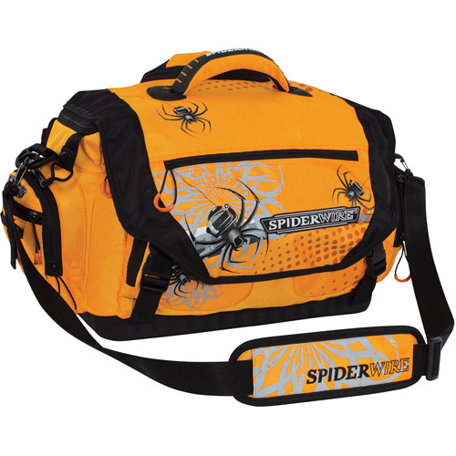 Spiderwire Soft-Sided Fishing Tackle Bag with 4 large utility lure box storage containers