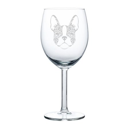 Floral Fusion Glass (Wine Glass Goblet Frenchie French Bulldog Face Floral (10 oz))