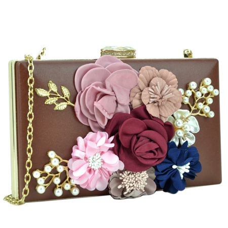 Dasein  Satin Flower Patch Clutch Flower Beaded Satin Clutch