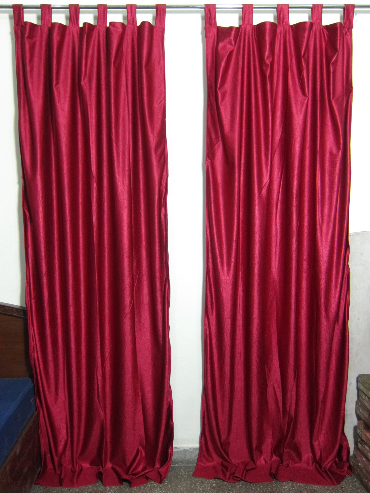 "Mogul Indian Sari Curtains Maroon Tab Top Drape   Panel Pair Window Treatment Ideas (Size: Length: 84"".) by"