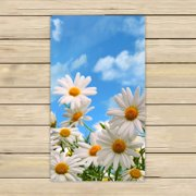 GCKG Elegant Natural Wild White Daisy Flower Field Under The Blue Sky Hand Towel,Spa Towel,Beach Bath Towels,Bathroom Body Shower Towel Bath Wrap Size 13x13 inches