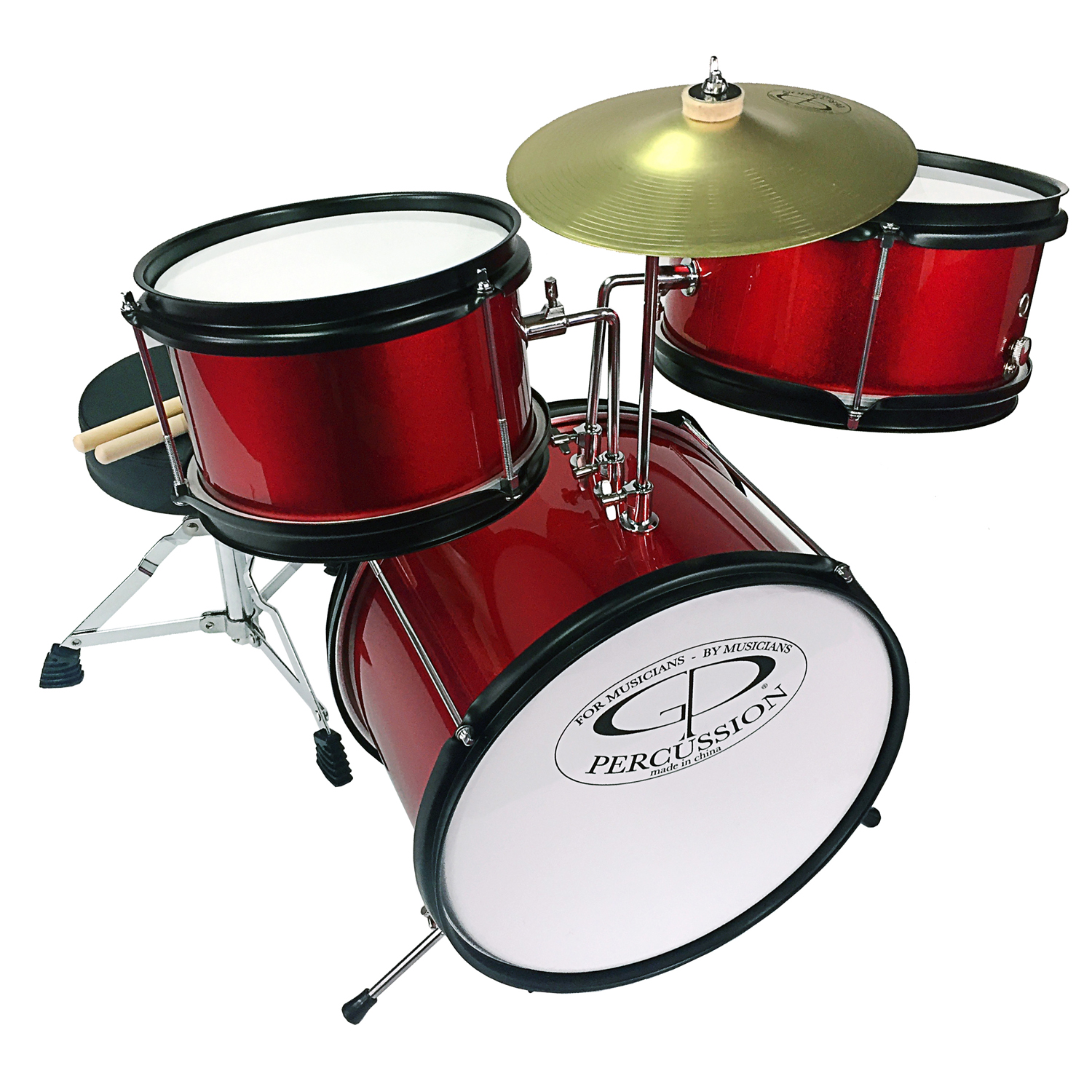 GP Percussion GP40RD 3-Piece Promotional Junior Drum Set in Red