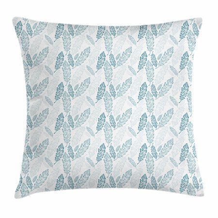 Teal and White Throw Pillow Cushion Cover, Pastel Colored Grunge Looking Feathers Flying Bohemian Ethnic, Decorative Square Accent Pillow Case, 16 X 16 Inches, Teal Dark Blue White, by Ambesonne - Teal Feathers