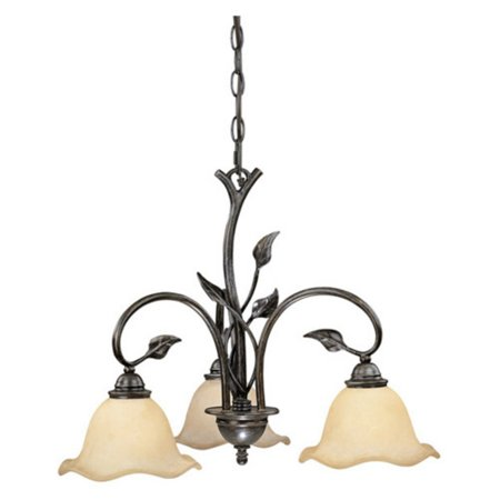 Vaxcel Vine 3-Light Chandelier with Amber Flake Glass - 22W in. Oil Shale