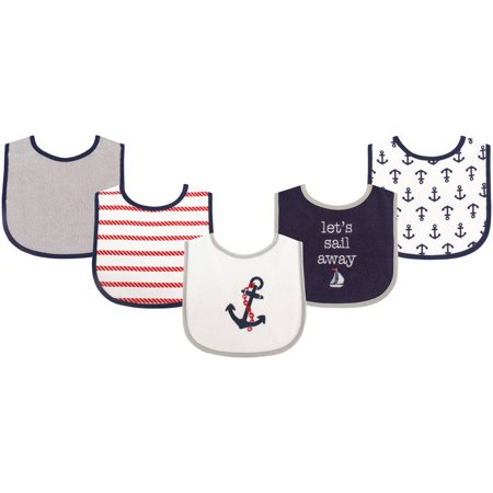 Luvable Friends Baby Boy and Girl Drooler Bib with PEVA Back, 5-Pack - Boy Nautical
