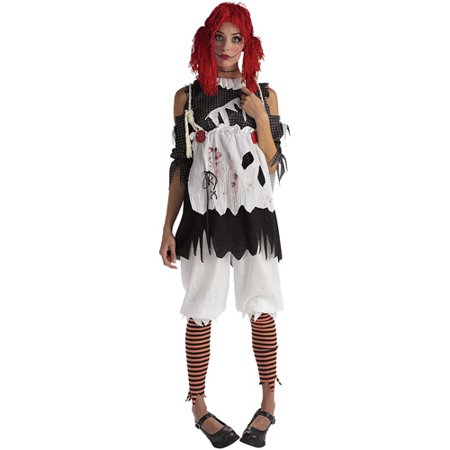 Rag Doll Adult Halloween Costume (Halloween Rag Doll Face Paint)