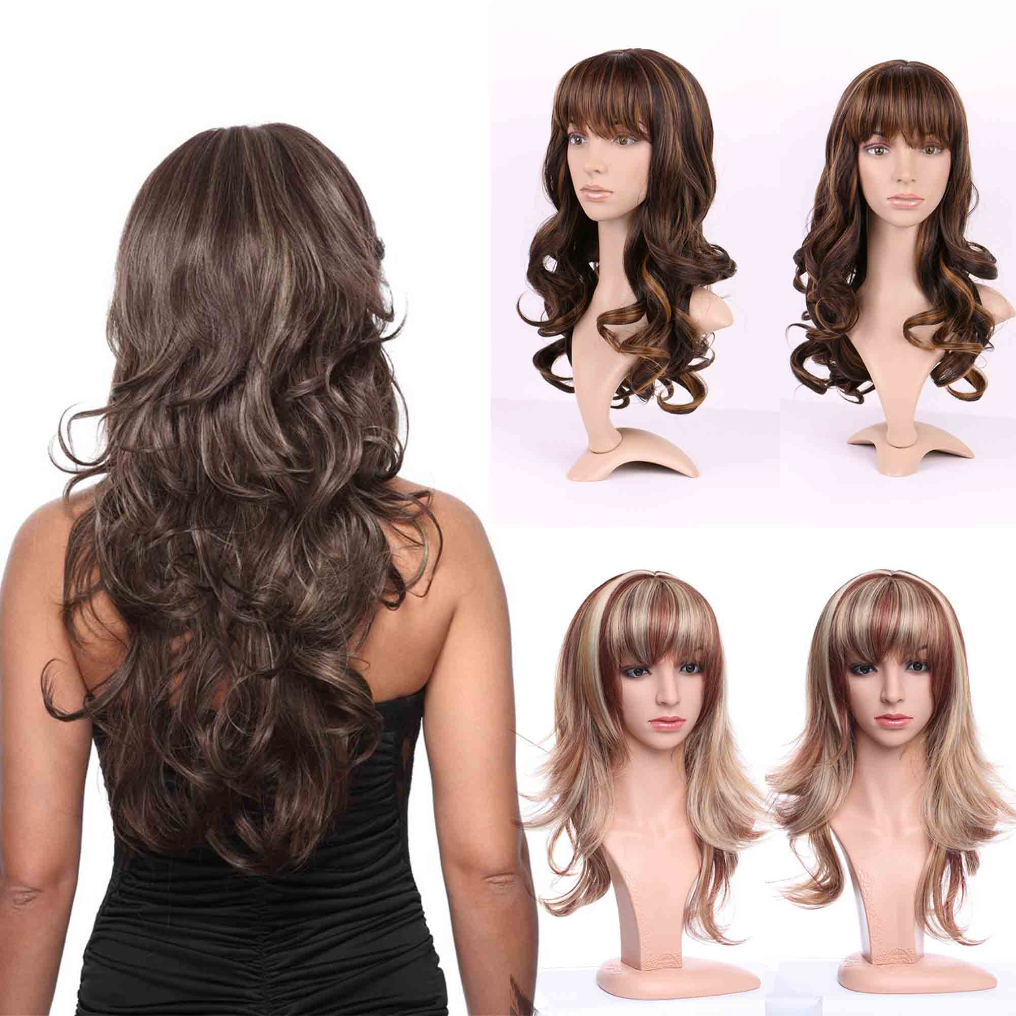 28/'/' Center Part Wig w// Long Layered Curls No Bangs Espresso Brown Cosplay NEW