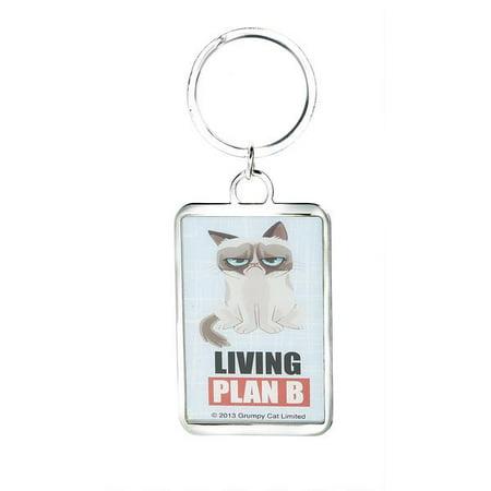Living Plan B - Grumpy Cat Rectangular Keychain by Ganz - Safety Cat Keychain