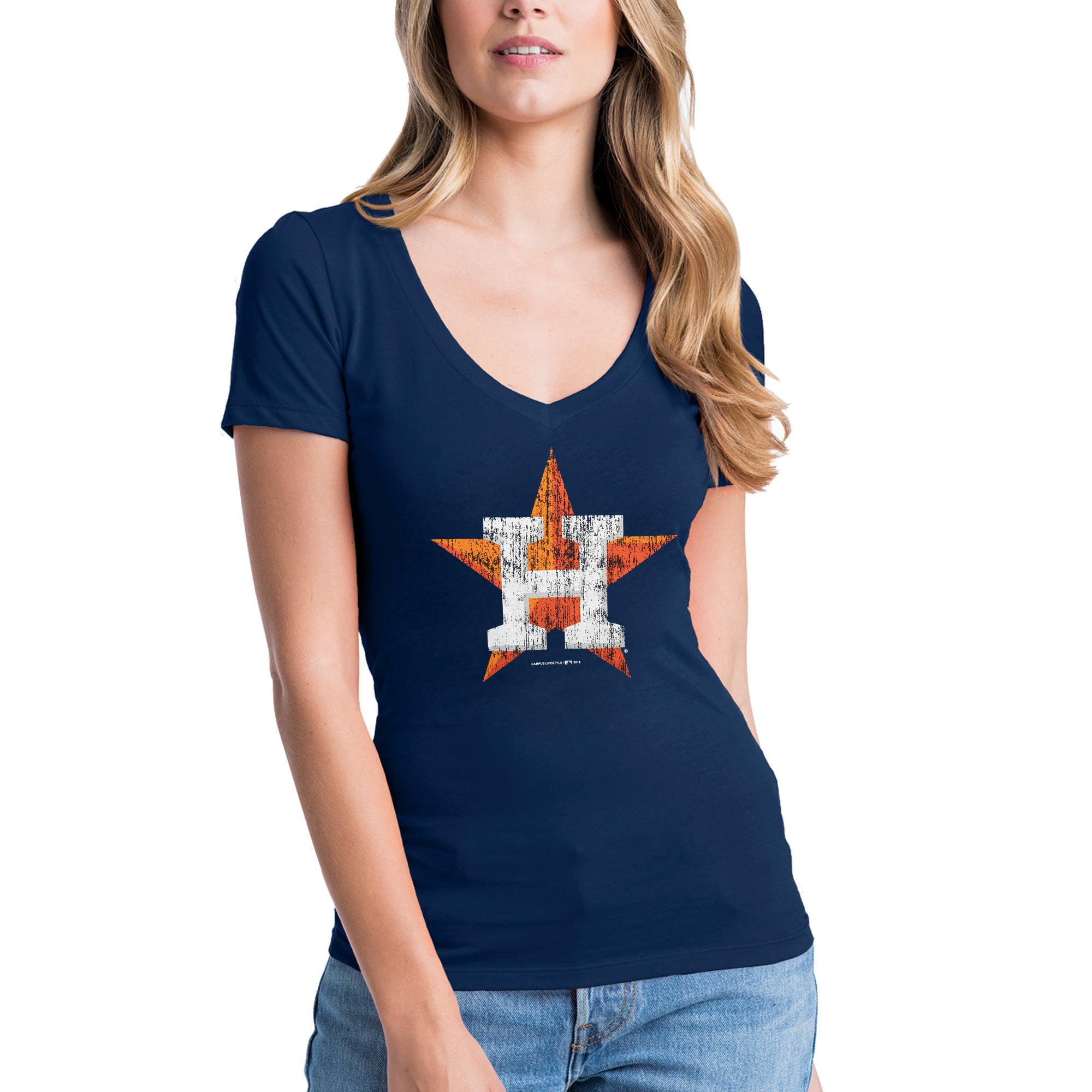 Houston Astros New Era Women's V-Neck T-Shirt - Navy
