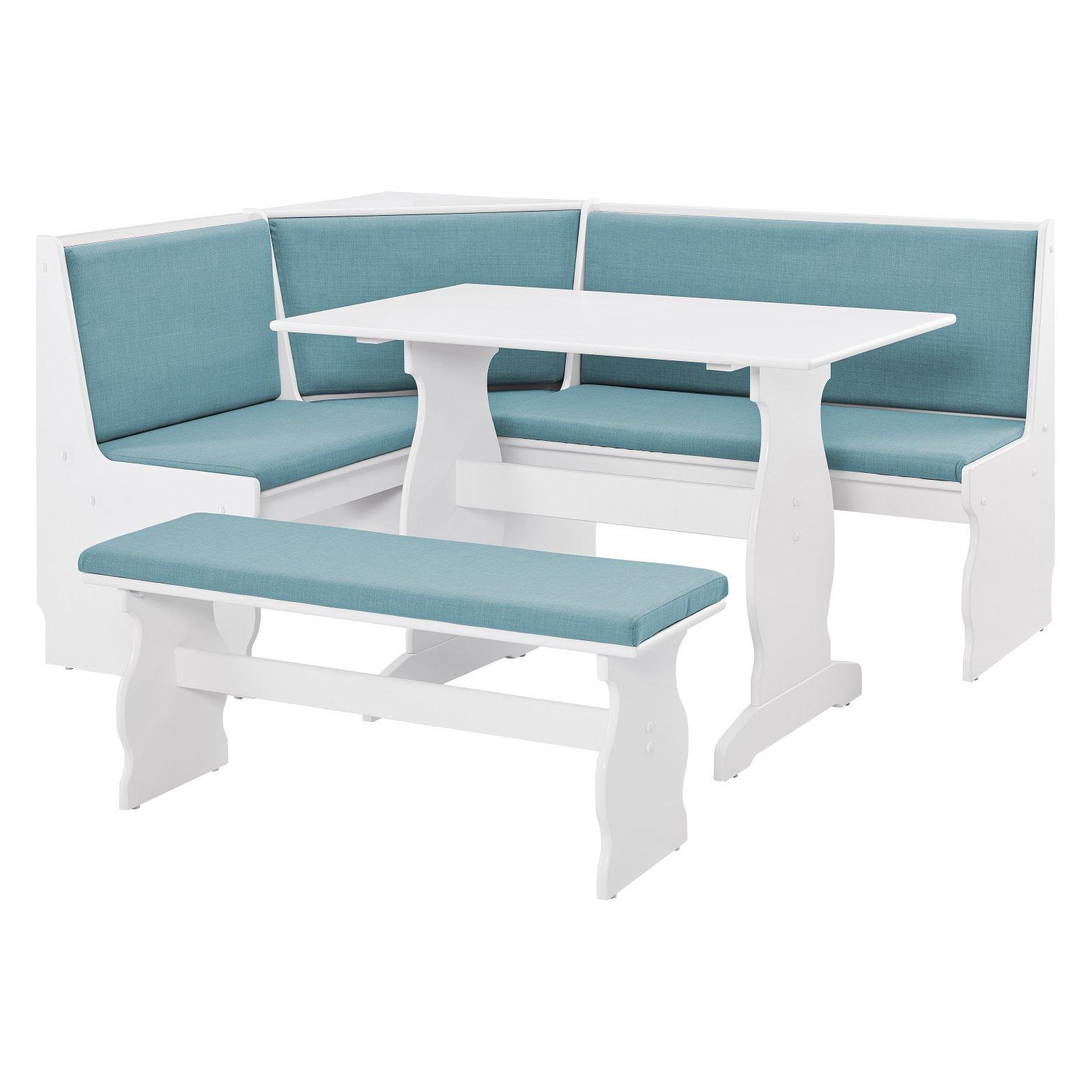 Linon Sasha Capri Nook, Blue and White, Includes Corner Unit, Table and Bench