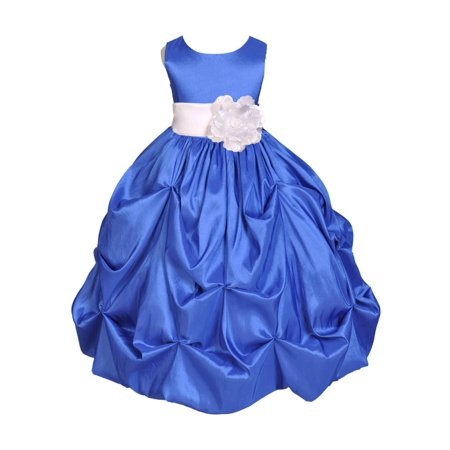 Ekidsbridal Taffeta Bubble Pick-up Royal Blue Flower Girl Dress Weddings Summer Easter Dress Special Occasions Pageant Toddler Birthday Party Holiday Bridal Baptism Junior Bridesmaid Communion 301S - Taffeta Party Dress