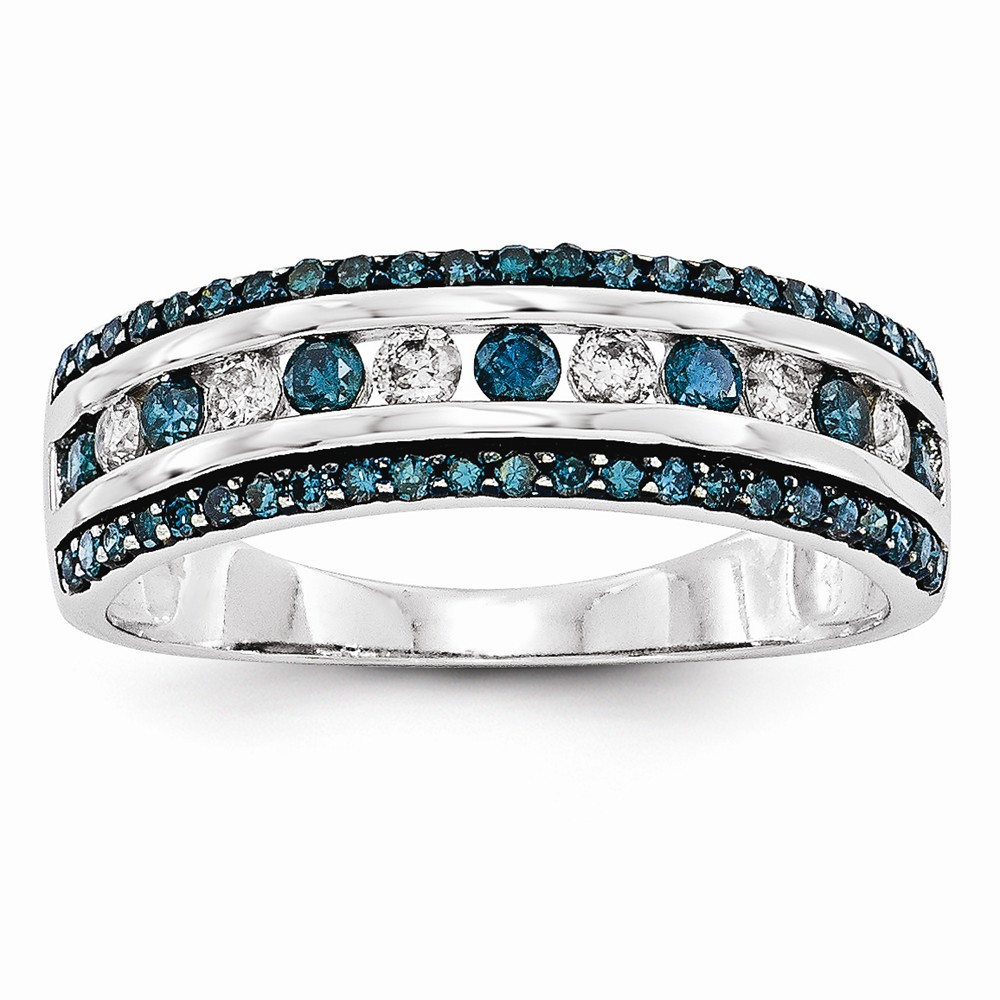 14k White Gold Blue and White Diamond Band Ring .65 dwt by