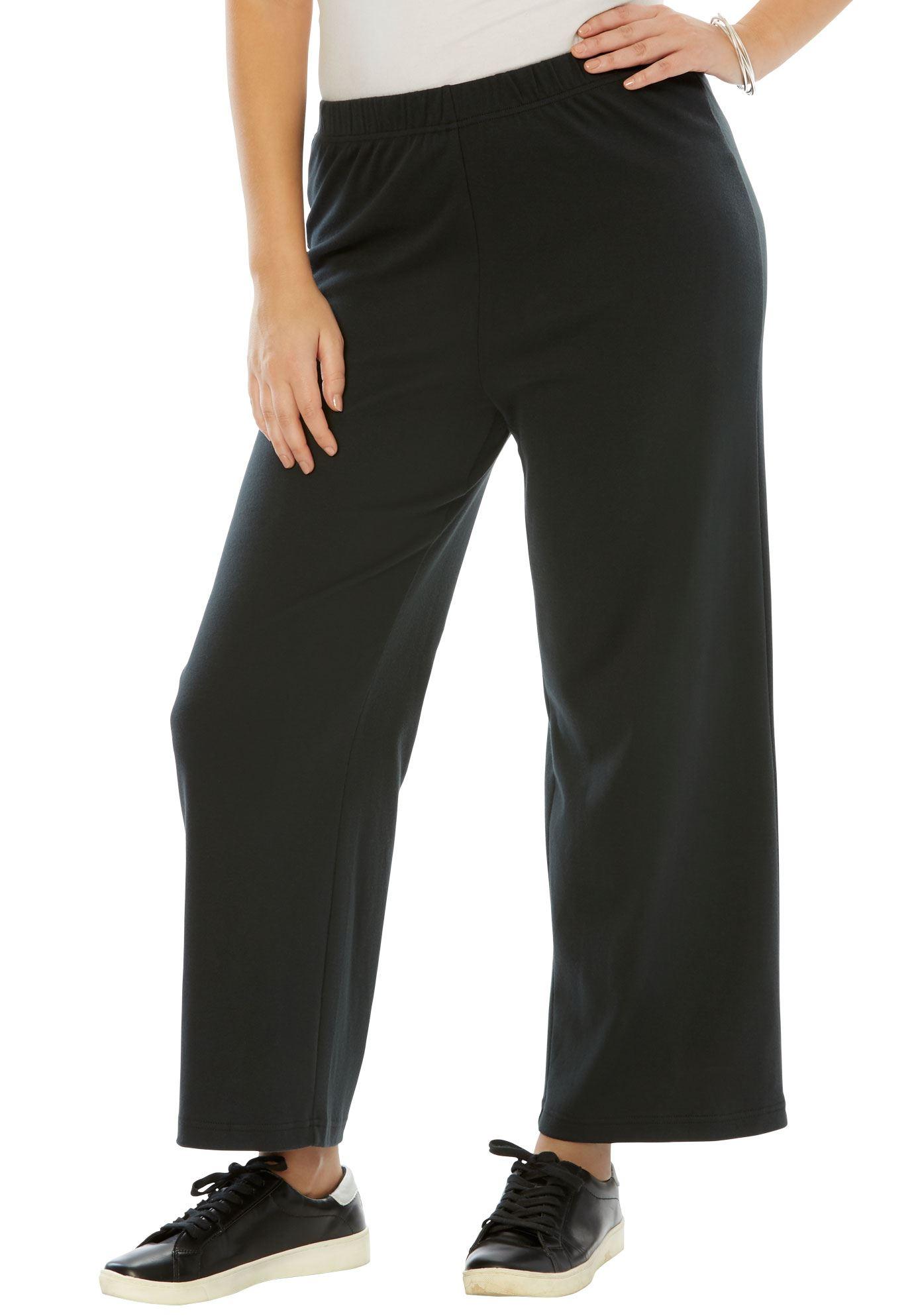 Roaman's Plus Size Soft Knit Wide Leg Pant
