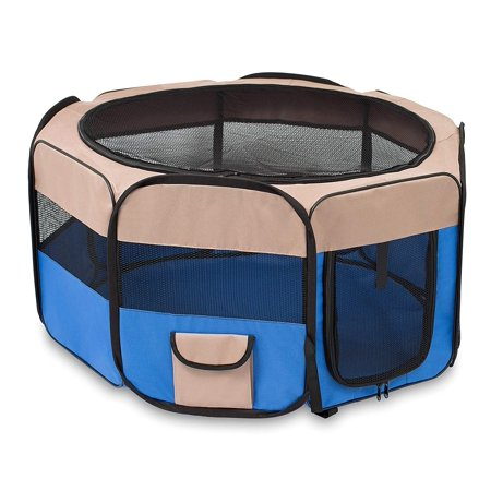 BIRDROCK HOME Internet's Best Soft Sided Pet Playpen | Small | Portable Puppy Pet Enclosure | Dog or Cat | Indoor Outdoor Mesh Kennel | Easy Travel | Folding and Collapsible Cage | Blue and (Best Small Indoor Dogs For Families)