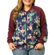 Unique Bargains Women's Plus Size Floral Zipper Bomber Jacket 1X Black